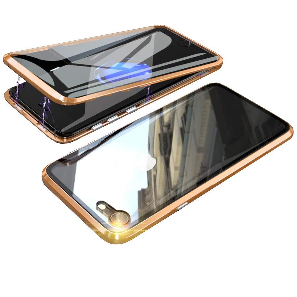 ColiColi f/ür iPhone 6//6S H/ülle Transparent Panzerglas 360 Grad Magnet Handyh/ülle Clear Doppelseitige Geh/ärtetes Glas Schutzh/ülle Vorne Hinten Rundumschutz D/ünn Metall Kratzfest Bumper Silber