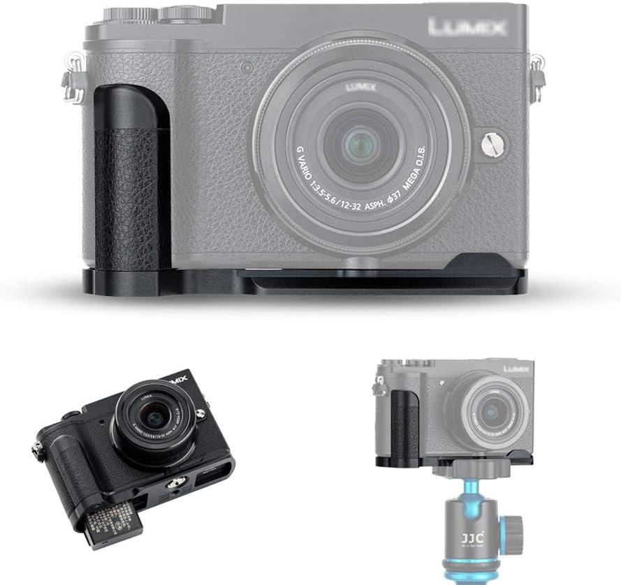 "JJC Metal Hand Grip Bracket for Panasonic Lumix GX9 GX85 GX80 GX7 Mark III II Accessories Replace Panasonic DMW-HGR2 Adopts Arca Swiss Plate & Large Opening for Battery & Card & 1/4""-20 Socket"