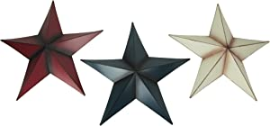 Things2Die4 17.5 Inch Patriotic Red White and Blue Barn Star 3 Piece Indoor/Outdoor Wall Hanging Set