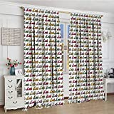 smallbeefly Motorcycle Window Curtain Drape Cartoon Style Scooters with Seatbacks and Round Mirrors Showing off in Parade Decorative Curtains For Living Room 84''x72'' Multicolor