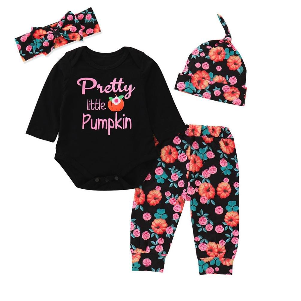 4PCS Halloween Clothes Sets Ankola Newborn Baby Letter''Pretty Little Pumpkin'' Romper Tops +Pumpkin Print Pants +Headband +Cap Set (12M, Black)