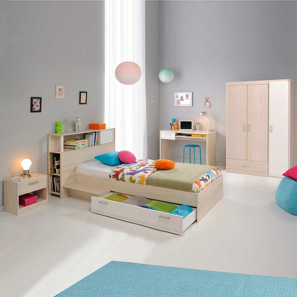 Pharao24 Schlafzimmer für Schulkinder Akazie Weiß