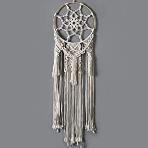 Dremisland Large Macrame Woven Wall Hanging Round Dream Catcher Design Wall Decor for Boho Chic Lovers Bohemian Home Decoration
