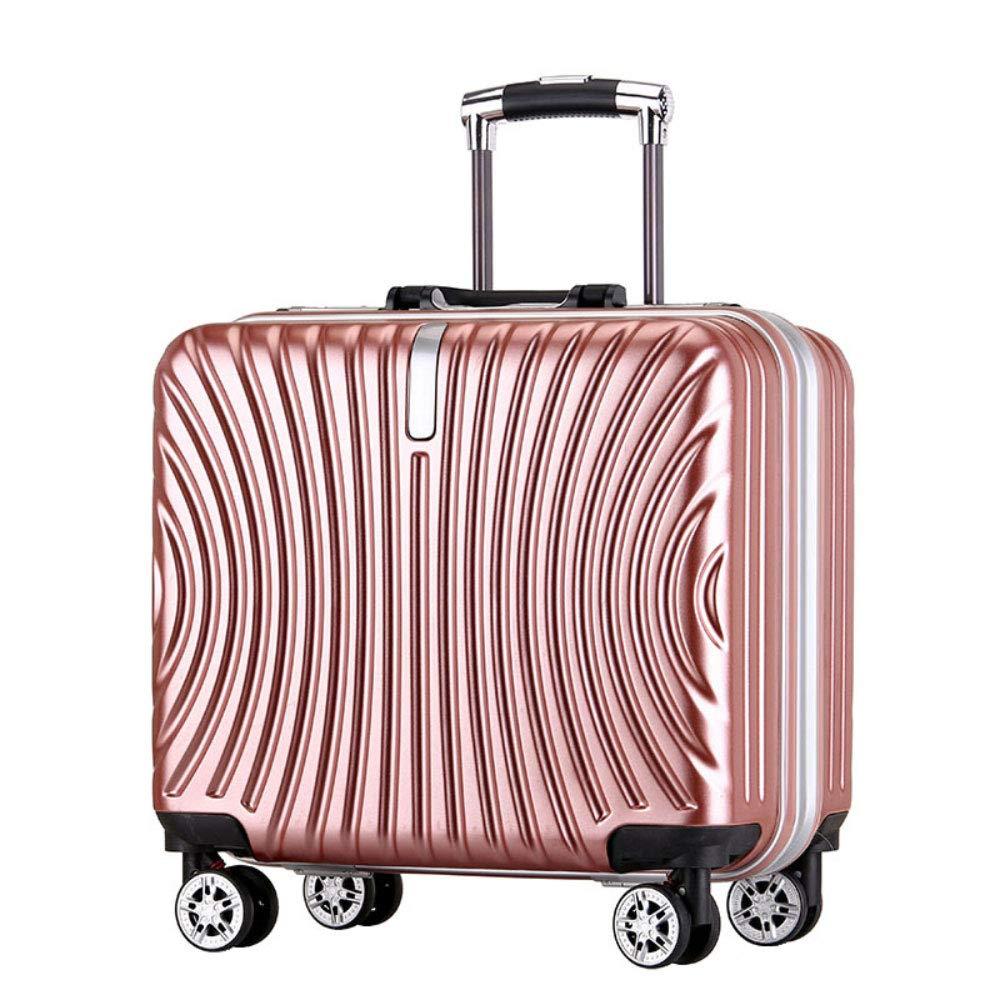 トロリーボックスユニバーサルホイールアルミフレーム旅行荷物18インチビジネス搭乗パスワードスーツケース (Color : ローズゴールド, Size : 18 inch)   B07R4QGW9X