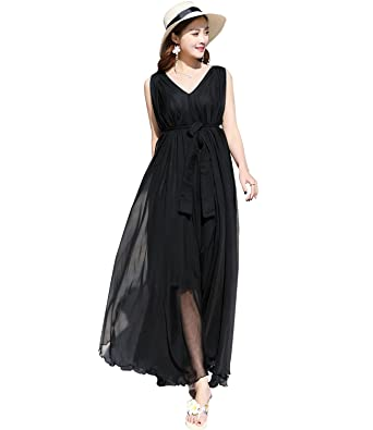 3eaf2f281c4 Medeshe 2018 New Lightweight Chiffon V Neck Beach Bridesmaid Maxi Dress  Sundress (Black