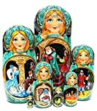 Czarevna Frog Princess Exclusive 7 Piece Nesting Doll in Doll Russian Folklore Fairy Tale Original Esxlusive Work of Art. Signed by Artist Babushka