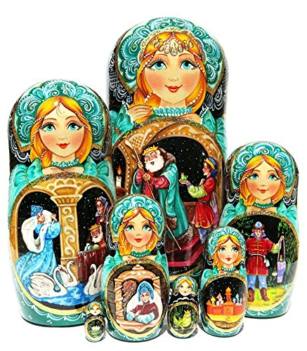 Czarevna Frog Princess Exclusive 7 Piece Nesting Doll in Doll Russian Folklore Fairy Tale Original Esxlusive Work of Art. Signed by Artist Babushka by GreatRussianGifts