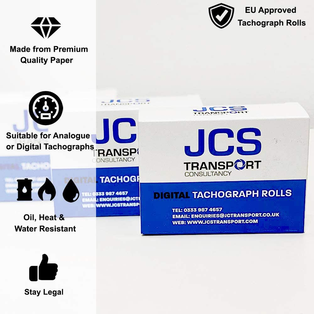 5 Boxes x 3 Rolls JCS Transport Tachograph Rolls for Digital Tachographs 15 Rolls EU Approved