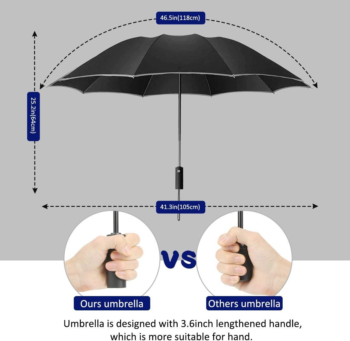 Yoophane Parapluie de Voyage invers/é Coupe-Vent avec Bandes r/éfl/échissantes 10 c/ôtes Ouverture et Fermeture Automatique Parapluie Pliable pour Homme et Femme