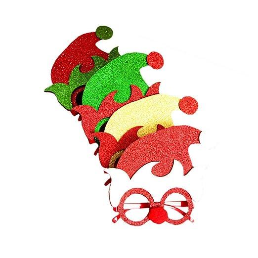 Happyyami 4 Piezas Gafas de Sol de Navidad Sombrero de Duende ...