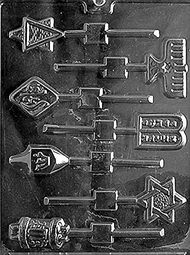 Jewish Holiday Lollipop Hanukkah Star of David Menorah Dredel Torah Chocolate Mold - R007 (Lollipop Hanukkah)