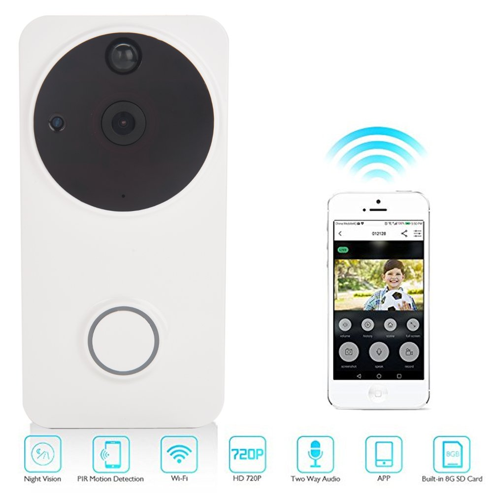Video Doorbell, Wireless WiFi 720 HD Camera with Chime, 166° Super Wide Angle, Night Vision (Black) 166° Super Wide Angle GOTOTOP