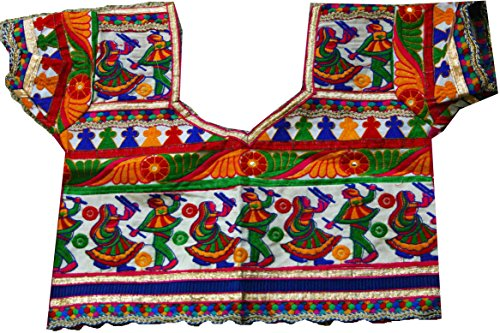 Samudrika Designer Embroidered Garba Lehenga Chaniya Choli Cotton White Size 10 Years