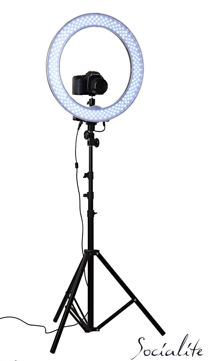 Amazon SOCIALITE 18 LED Live Video Ring Light Kit Incl Professional Studio 6ft Stand Remote Heavy Duty Mounts IPad Tablets DSLR Cameras