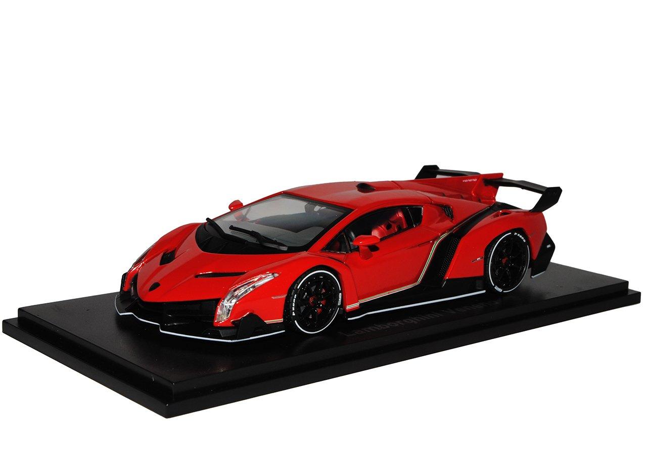 Kyosho Lamborghini Veneno Rot mit Weiss Concept Genf Coupe 05571RPW 1/43 Modell Auto mit individiuellem Wunschkennzeichen