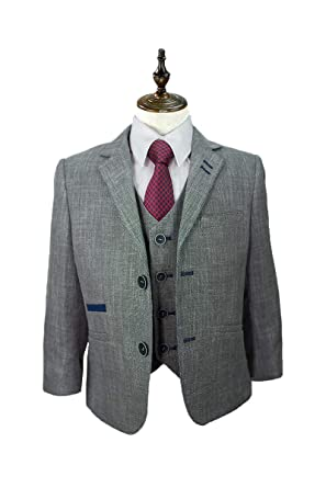 Cavani Boys Miami Grey 3 Piece Suit for Wedding Formal Occasion, 1-15 Years