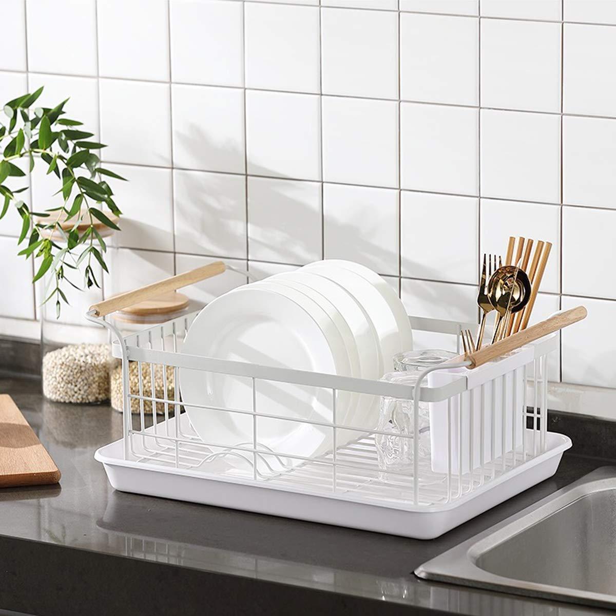 blanco escurreplatos con asas de madera,estantes y soportes de almacenamiento de cocina Escurreplatos con bandeja de goteo