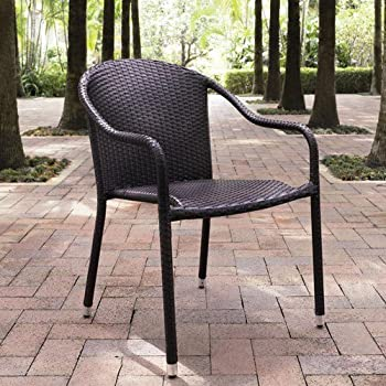 Amazon Com Outdoor Interiors Stacking Chairs Brown Set
