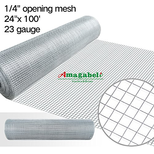 24 x 100 1/4inch Openings Square Mesh Welded Wire 23 Gauge Hot-dipped Galvanized Hardware Cloth Gutter Guards Plant Supports Poultry Enclosure Chicken Run Fence Indoor Rabbit Pen Cage Wire Window