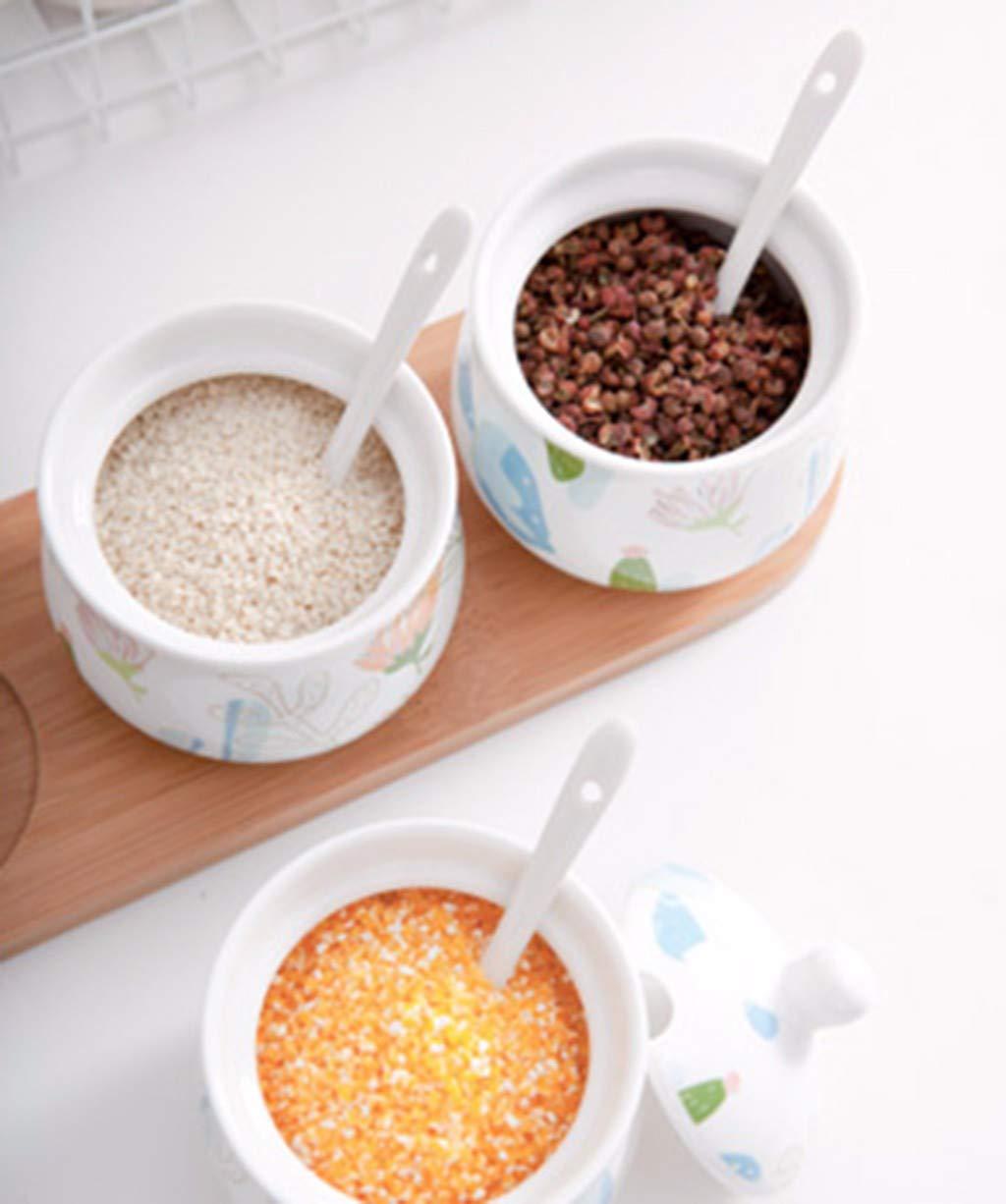 lktlg Tarro de Especias, Caja de Especias de cerámica Suministros de Cocina Caja de condimentos para el hogar Botella de condimento Tanque de Sal de Sal: ...