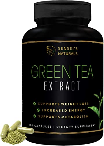 Green Tea Extract Supplement with EGCG 120 Capsules – Healthy Metabolism Booster, Weight Loss for Women Men, Antioxidant Detox Benefits, Immune Support Natural Caffeine Energy Supplement.