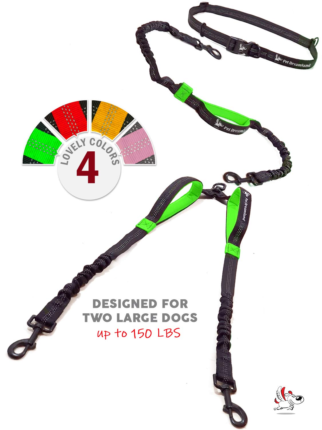 Pet Dreamland Dog Leash for Two Dogs - 2 Dogs Coupler Hands Free No Pull Tandem Dual Waist Leash for Large Dogs (Black & Green)