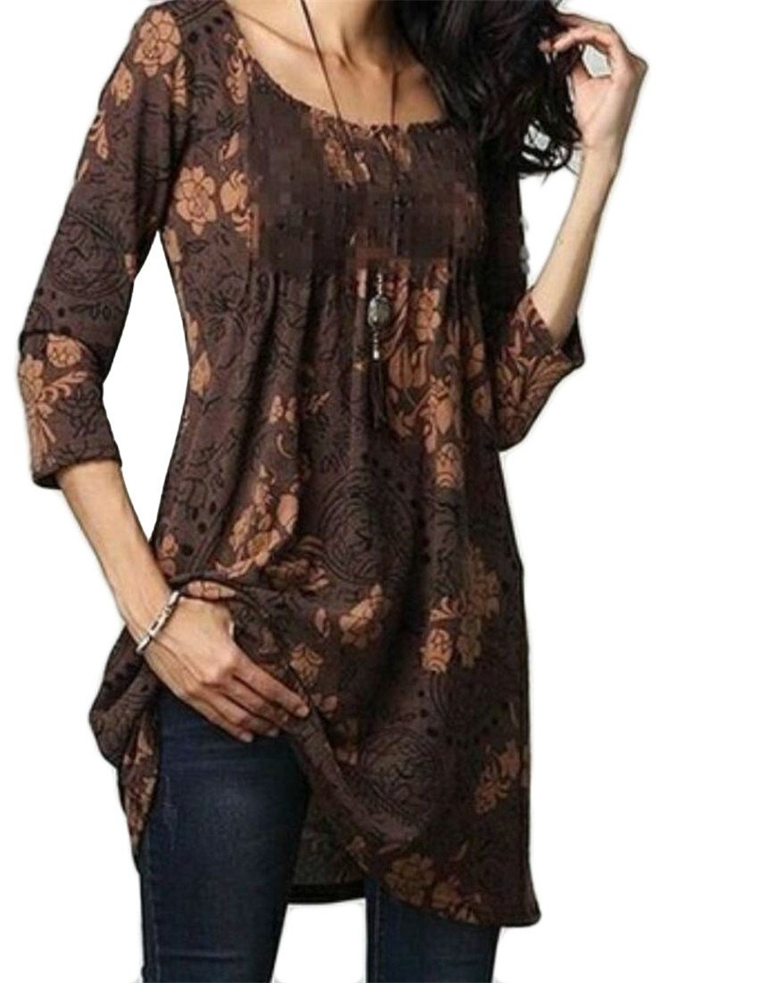 Domple Women's Fashion Round Neck Floral Flared Blouse Tunic Shirt Tops