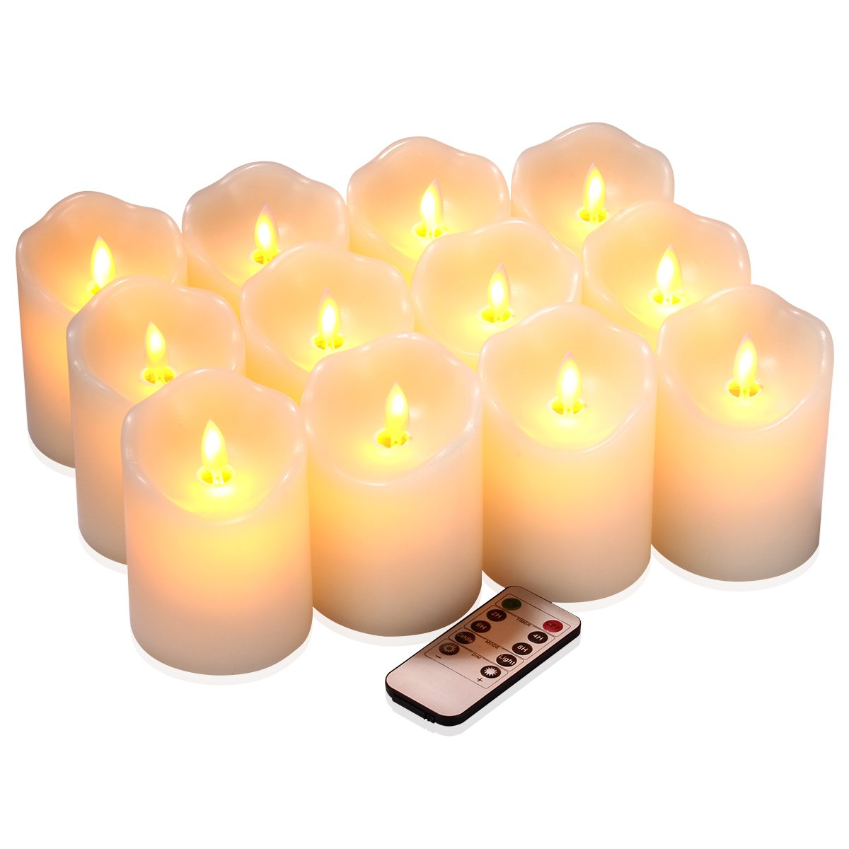 qinxiang Flameless Candles Flickering LED Candles Set of 12 (D:3'' X H:4'') Ivory Real Wax Pillar Battery Operated Candles with Dancing LED Flame &10-Key Remote and Cycling 24 Hours Timer