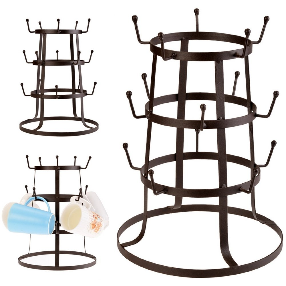 Benlet Cup Drying Rack, 3 Tier Iron Coffee Mug Tree Stand Bottle Holder Organizer w/15 Hooks, Brown