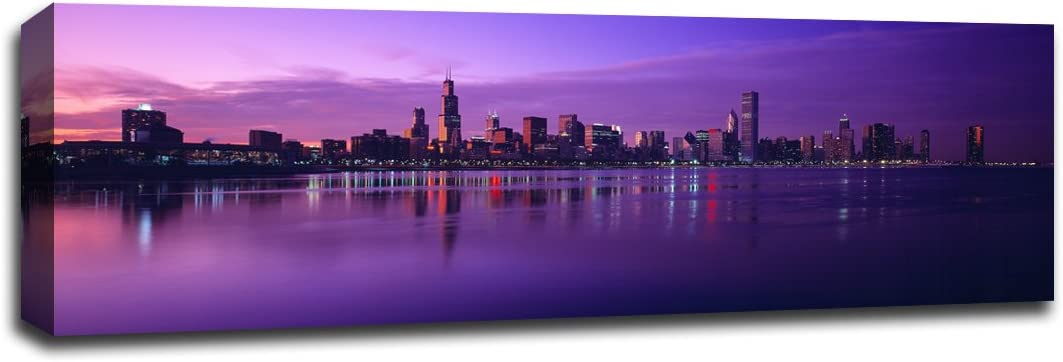 Amazon Com Lake Michigan With The Chicago Skyline Lakes 36x12 Gallery Wrapped Canvas Wall Art Posters Prints