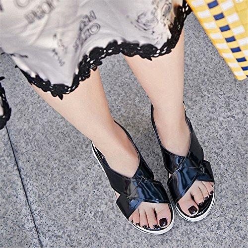 con Fibbia Fondo da Donna Accademia Scarpe da Spesso B Tacco Zeppa Nuovo Sandali Casual Donna Bianco Estate Scarpe PU Nero con dOFxTq0XOw