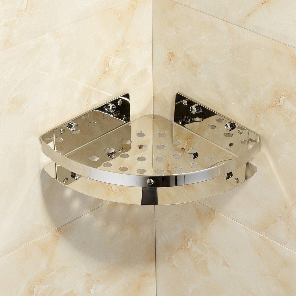 MARMOLUX ACC WT-513CH-S Wall Mount Corner Holder Bathroom Shower Caddy Storage Shelf-Stainless Steel, Chrome