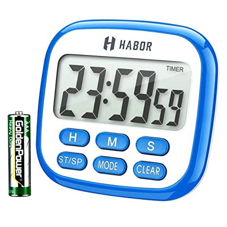 Habor Kitchen Timer, 24-Hours Digital Timer [Multifunctional] with Clock for Cooking, Loud Alarm & Strong Magnet, Count-Up & Count Down for Kitchen ...