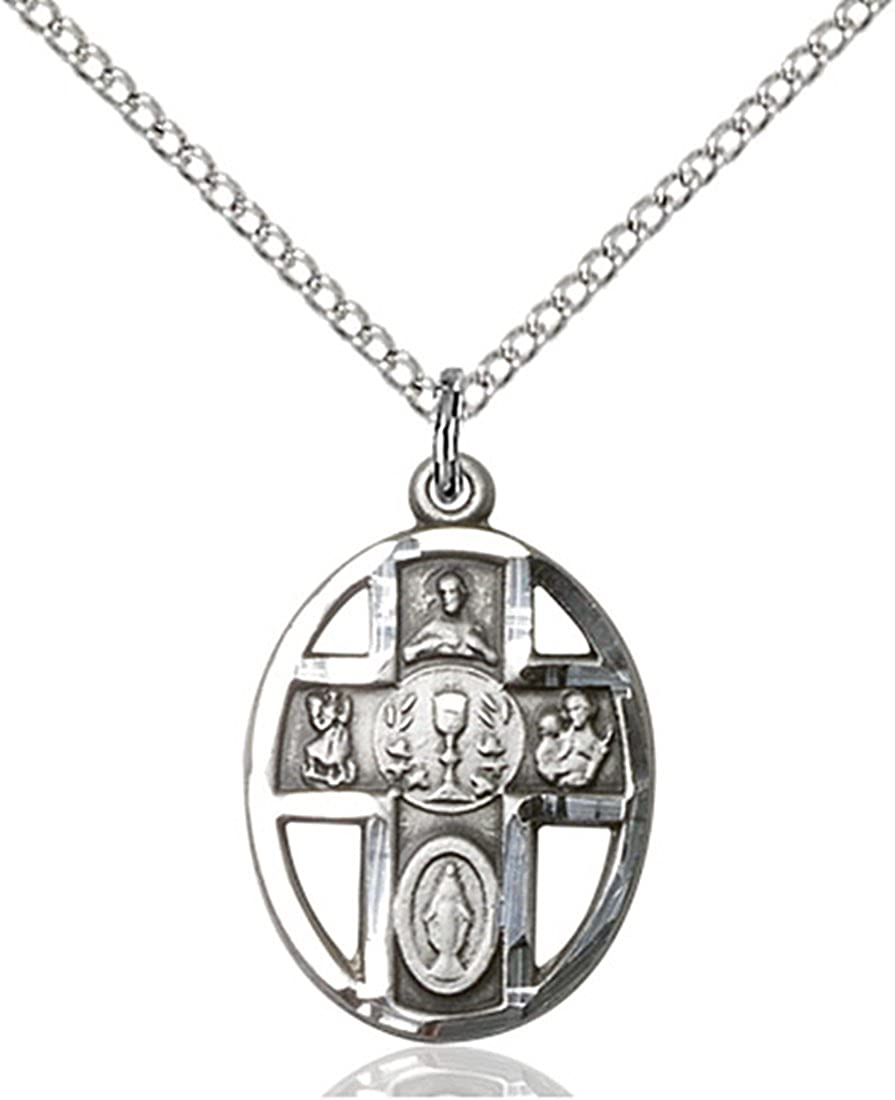 Chalice Pendant 3//4 x 1//2 inches with Sterling Silver Lite Curb Chain Sterling Silver 5-Way