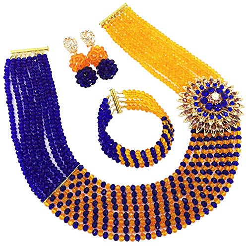 aczuv 8 Rows African Bead Necklace Jewelry Set for Women Nigerian Wedding Bridal Jewelry Sets (Royal Blue -