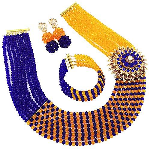 aczuv 8 Rows African Bead Necklace Jewelry Set for Women Nigerian Wedding Bridal Jewelry Sets (Royal Blue Orange)