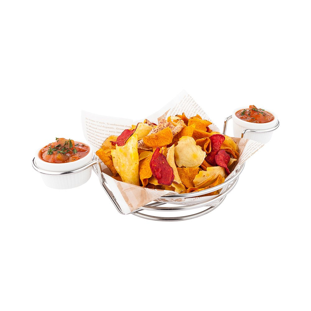 Duetto Stainless Steel Appetizer and Chip Basket with Double Dipping Sauce Holder 10.2 inches 1 count box Restaurantware RWM0029