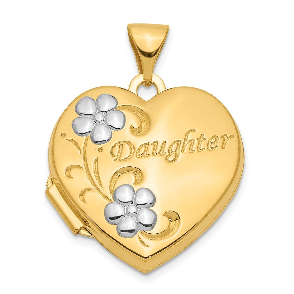 14k Two-tone Gold Daughter Floral Heart Locket