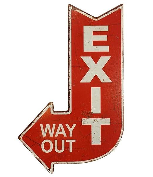 zeitzone Cartel de Chapa Exit Way out Decorativa, Diferentes señales Nostalgie Vintage 40 x 25 cm