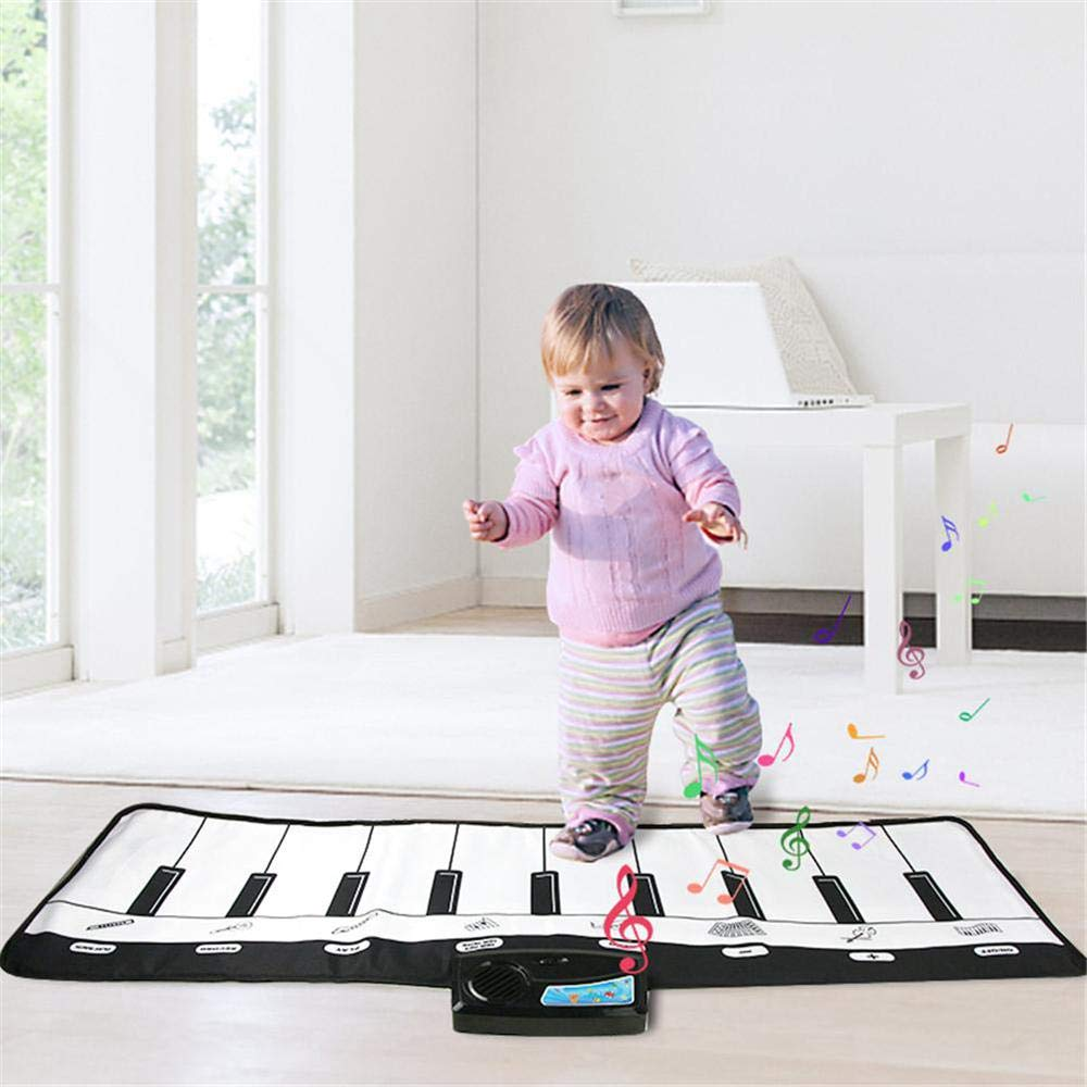 TEEPAO Giant Piano Music Mat, Black White Floor Keyboard Playmat Electronic Dance Mat Music Carpet for Kids Toddlers Children, 8 Selectable Musical Instruments, 10 Sounds - 43'' 14'' by TEEPAO (Image #8)