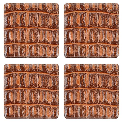 Luxlady Natural Rubber Square Coasters IMAGE ID: 23373294 Dark Salmon synthetic leather with embossed texture