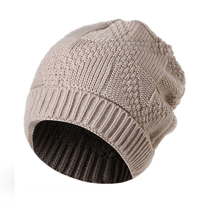 3807b3d3d8426 Amazon.com: General3 Men Women Knit Baggy Beanie Oversize Winter Hat Ski  Slouchy Chic Cap (Beige): Clothing