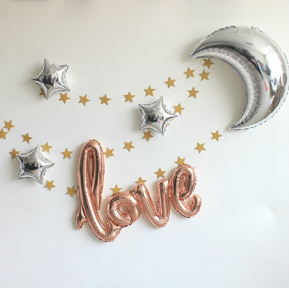 "42 inch ""Love"" and 36 inch Moon Large Size Foil Balloons Air-Filled/Helium Balloon for Party Show Performance Wedding Baby Shower Window Dressing Birthday Anniversary Decoration (Champagne Gold Set)"