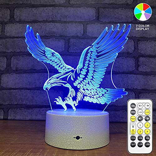 Xycheri Eagle 3D Light Optical Illusion Night Light,3D Lamp,7 Color Changing Touch Table Desk Lamps with USB Cable Birthday Gifts for Boys Home Decor Lamp