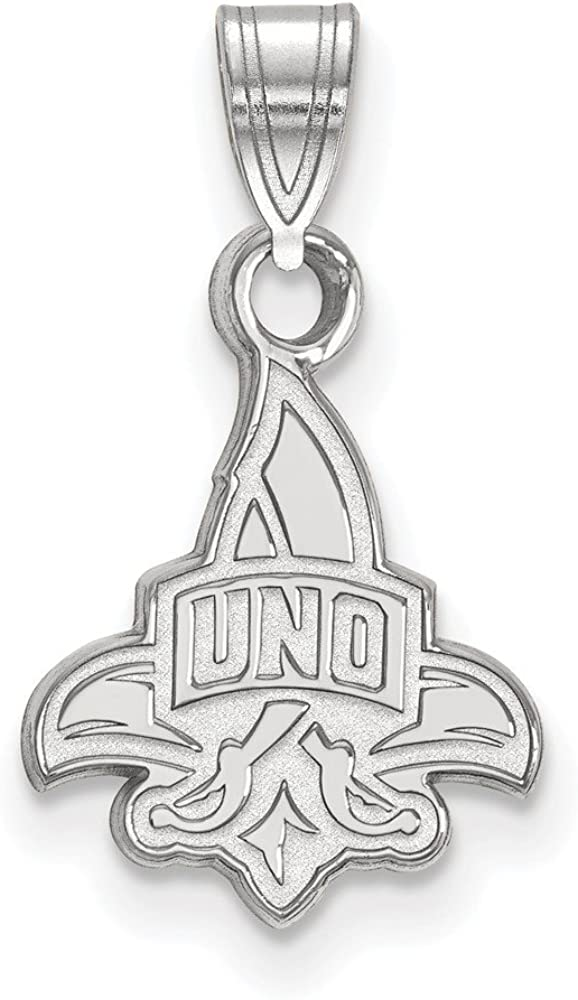 Solid 925 Sterling Silver Official University of New Orleans Small Pendant Charm 18mm x 10mm