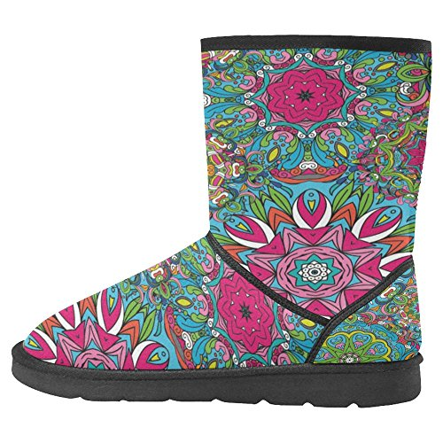 InterestPrint Womens Snow Boots Unique Designed Comfort Winter Boots Colored Ornate Pattern Vintage Indian Style Multi 1