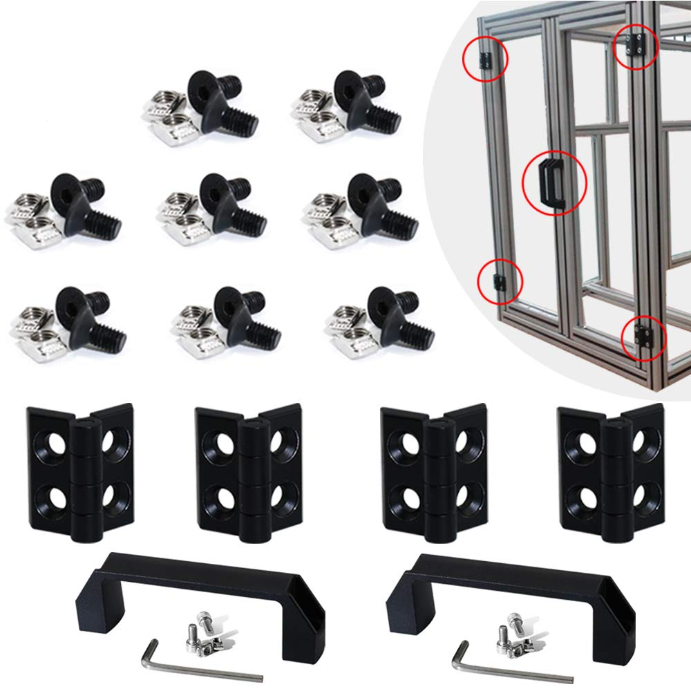 Boeray 2 Sets 2020 Aluminum Extrusion Profile Slot 6mm Door Handle and Frame Hinges Install Kit-4pcs Black Zinc Alloy Hinges, 2pcs Aluminum Handles,20pcs T-Nuts, 20pcs Hex Screws,2pcs Wrench