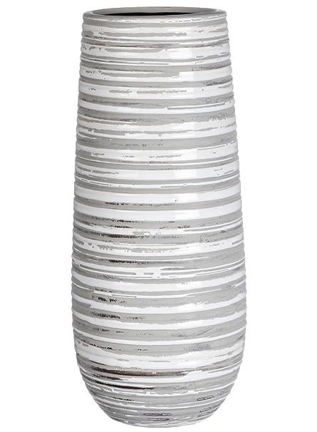 Amazon Sullivans Grey White Striped Ceramic Vase Home Kitchen