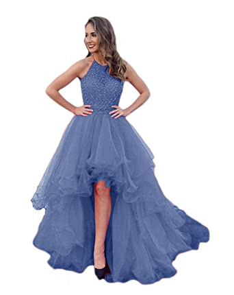 TPSAADE Damen High Low Beading Champagner Organza Halter Prom ...