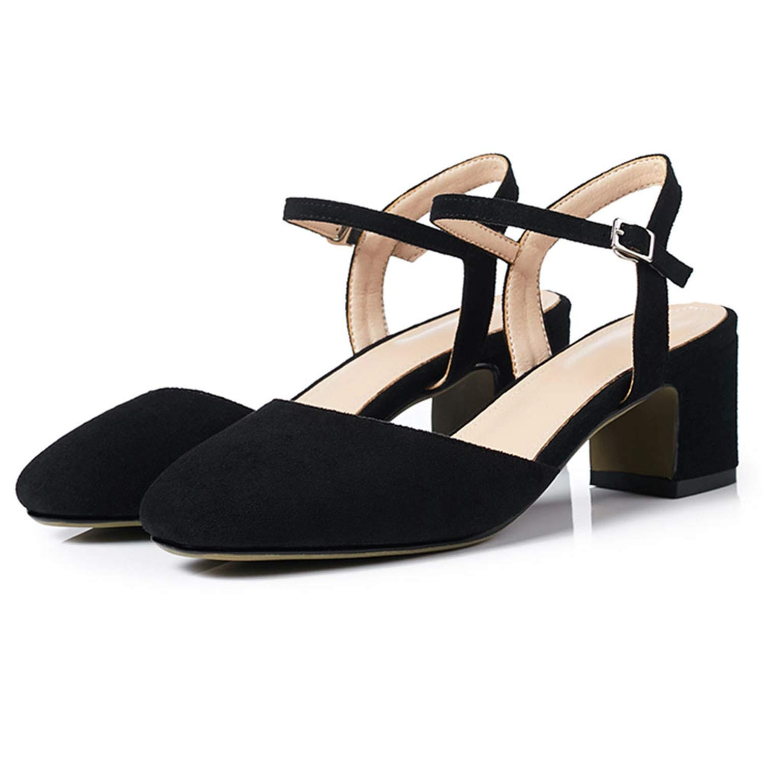 3-203 Black shoes Cover Square Toe Sexy Slingback Summer shoes for Women Sandal